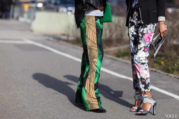 Dries Van Noten pants (left), Céline pants and Alexander Wang heels (right)